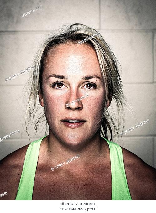 Portrait of sweaty mid adult woman after workout