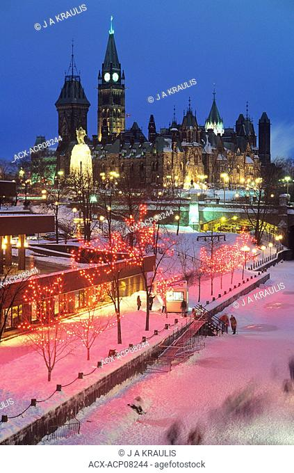 Christmas lights and Skyline of Ottawa, Ontario, Canada