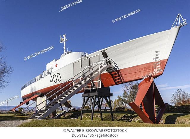 Canada, Quebec, Chaudiere-Appalaches Region, L'islet-sur-Mer, HMCS Bras d'Or, experimental hydrofoil, outside the Maritime Museum