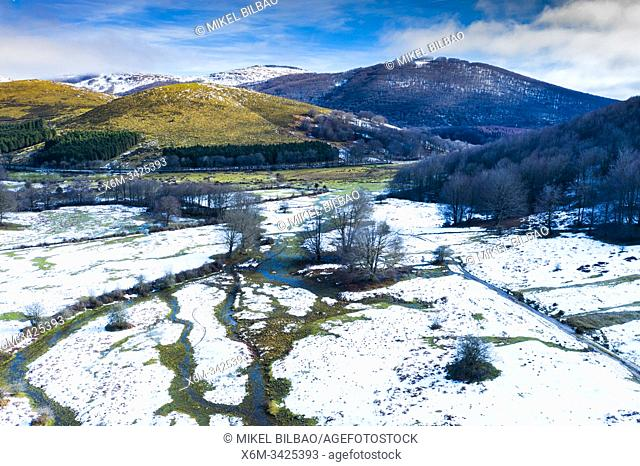 Pasture and mountains in winter. Valley of Ulzama. Navarre, Spain, Europe