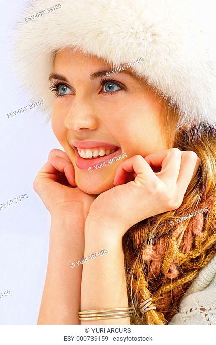 Model posing in winter clothes