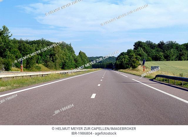 Empty A4 motorway, between Strasbourg and Metz, France, Europe