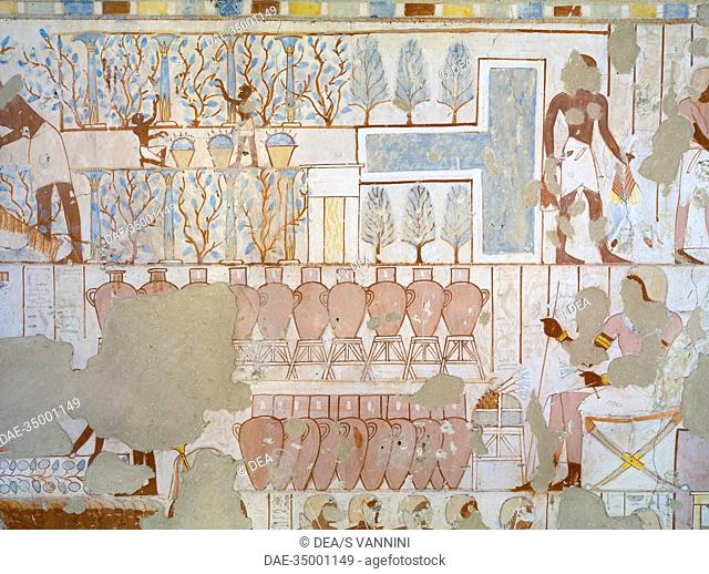 Egypt, Thebes (UNESCO World Heritage List, 1979) - Luxor. Sheikh 'Abd al-Qurna. Tomb of city police captain Nebamun. Mural paintings (Dynasty 18, Thutmose IV