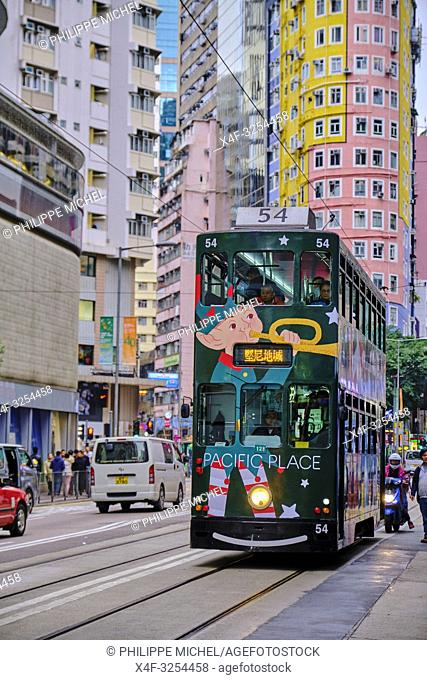 Chine, Hong Kong, Hong Kong Island, tramway sur Johnston Road / China, Hong-Kong, Hong Kong Island, tram on Johnston Road
