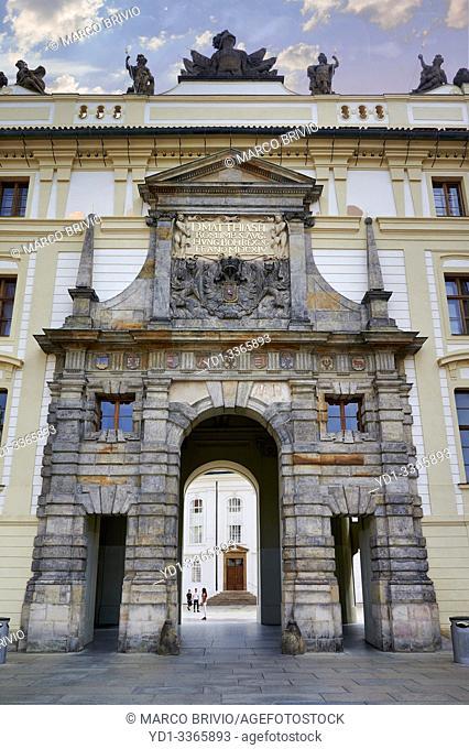 Prague Czech Republic. The entrance of the castle. Matthias gate