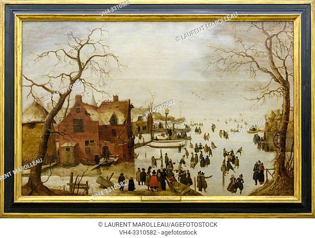 Winter Scene by Hendrick Avercamp (1585-1634), Oil on panel Dutch School (1620), from the collection of Friar Manuel do Cenaculo, Evora Museum, Evora