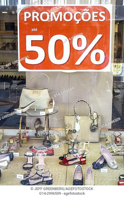 Portugal, Lisbon, Baixa, Chiado, historic center, Rua Augusta, Sapataria e Chapelaria Lord, iconic shoe store, women's shoes, window, shopping, sandals