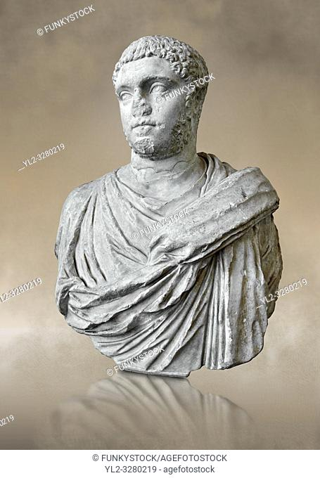 Roman sculpture bust of Publius Septimius Antoninus Geta better known as Geta brother of Caracalla, made between 209 and 212 AD and excavated from the via XX...