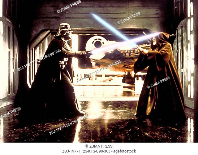 Nov 23, 1977; Hollywood, CA, USA; Image from George Lucas's action adventure 'Star Wars' starring DAVID PROWSE as Darth Vader and ALEC GUINNESS as Ben Obi-Wan...