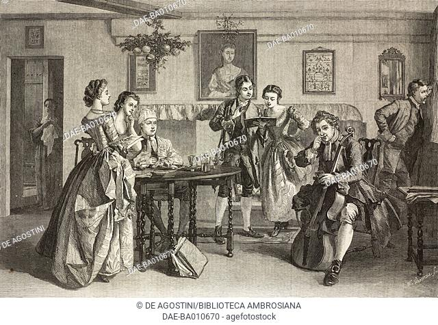 Tuning up, music lesson, engraving from a painting by Edward Killingworth Johnson (1825-1896), illustration from the magazine The Illustrated London News