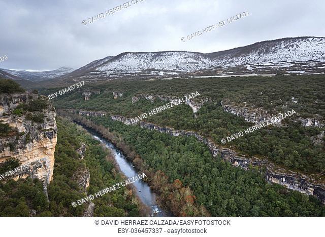Scenic landscape of Ebro river canyon on winter season in Burgos, Castilla y Leon, Spain