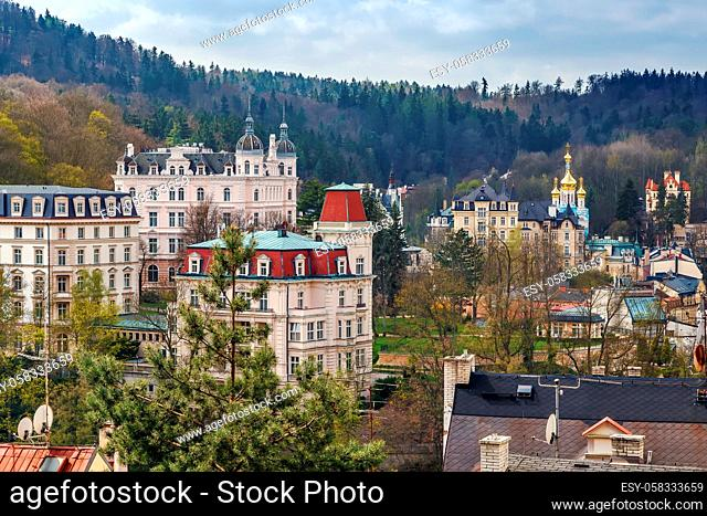 View of historical center of Karlovy Vary from hill, Czech republic