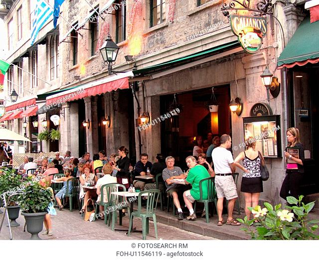Montreal, Canada, QC, Quebec, Old Port, Old Montreal, Rue Saint Vincent, outdoor cafT