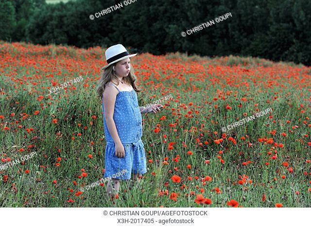 fillette en robe bleue avec un chapeau Panama ecoutant de la musique dans un champ de coquelicots,departement Eure et Loir,region Centre,France