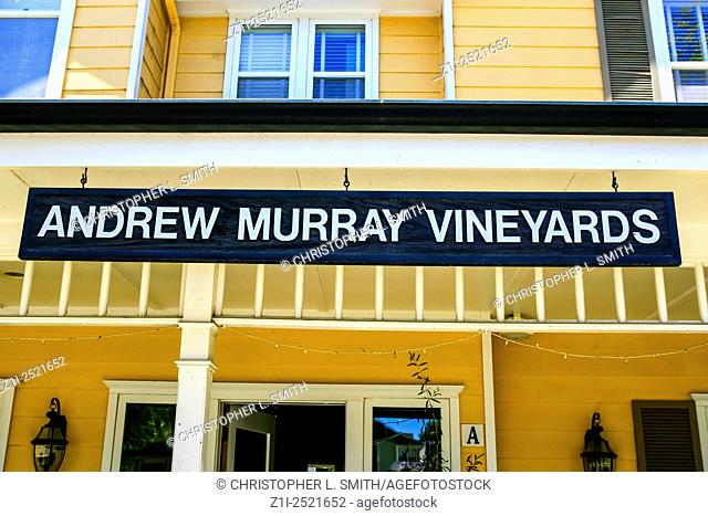 Andrew Murray Vineyards overhead sign outside their wine tasting store in Los Olivos in California