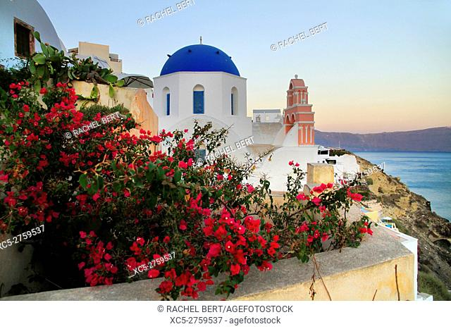 View of the Santorini caldera at dusk, taken from Oia, Santorini/Thera, Greece