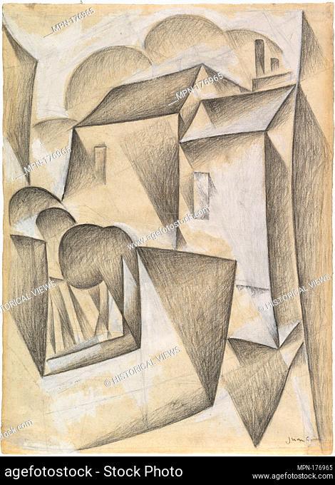 Houses in Paris, Place Ravignan. Artist: Juan Gris (Spanish, Madrid 1887-1927 Boulogne-sur-Seine); Date: Paris, 1911; Medium: Black chalk and gouache on white...