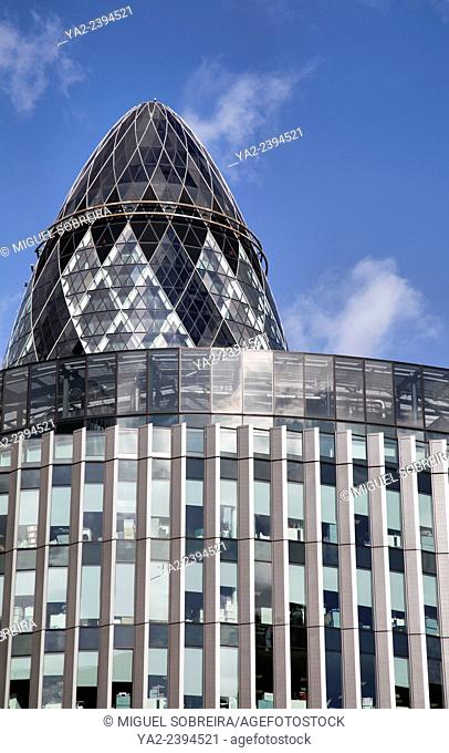 Fenchurch Street View of the Gherkin in London UK