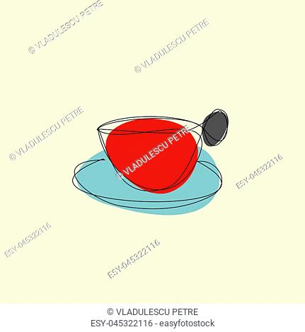 cup of hand (with saucer and coffee)