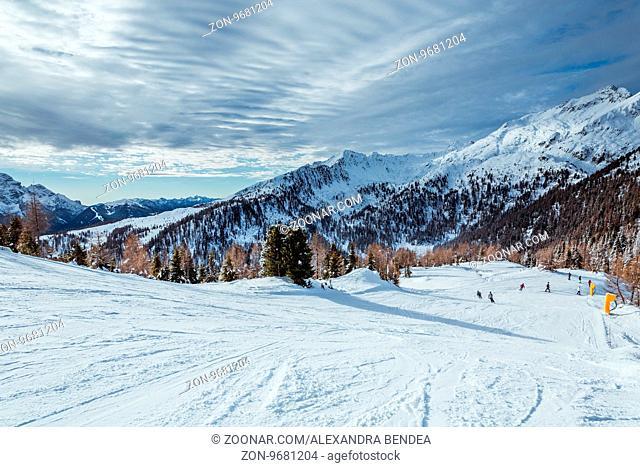 Madonna di Campiglio Ski Resort during skiing season