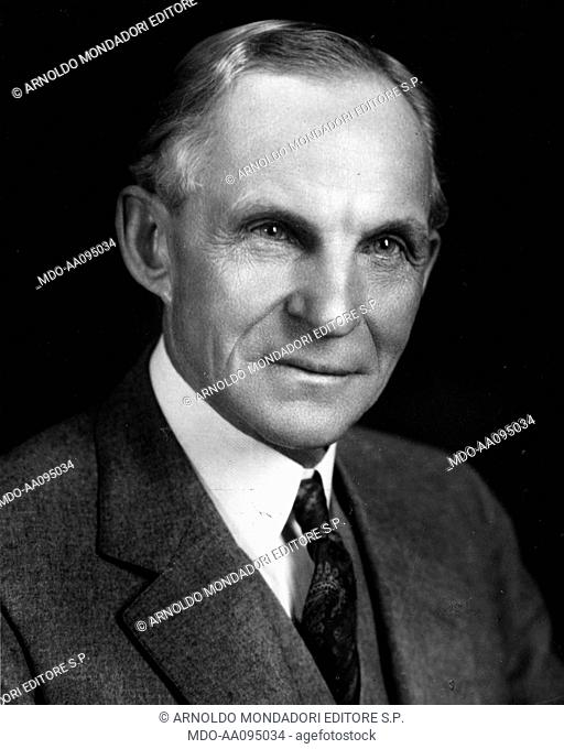 Close up of American entrepreneur Henry Ford, founder of the Ford Motor Company. USA, 1934