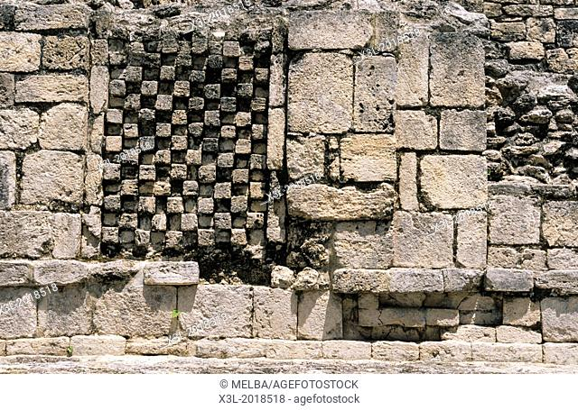 Chess. Becan, archaeological mayan site ruins. Campeche ruins. Mexico