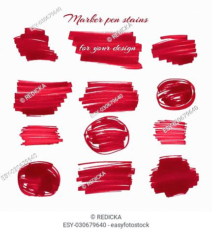 Dark red marker pen spots and lines isolated on a white background for your design. Vector illustration