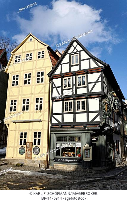 Roland Café in 7 historic half-timbered houses, Breite Strasse Street, Quedlinburg, Harz, Saxony-Anhalt, Germany, Europe