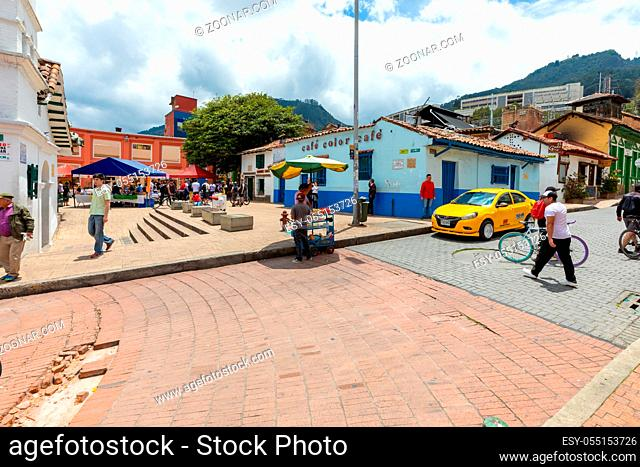 Bogota, Colombia March 31 This small square named Chorro in the historic center of Bogota is a spotlight to visit for its colonial style, bars