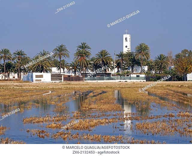 Poble Nou small village church. Ebro River Delta Natural Park, Tarragona province, Catalonia, Spain
