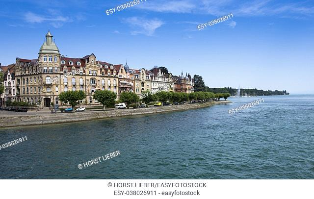Constance, View of old house facades with Lake Constance - Baden-Wuerttemberg, Germany, Europe