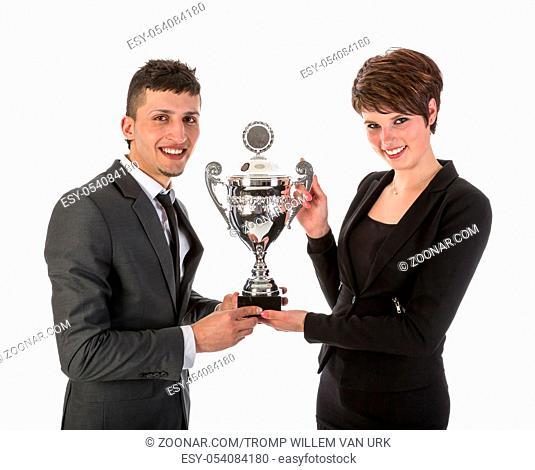 Businesswoman has won a trophy