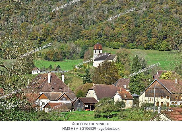 France, Doubs, Vaufrey, village Comtois steeple in autumn