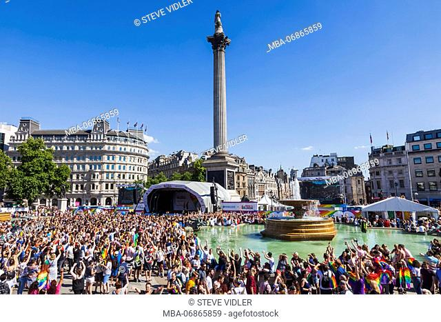 England, London, Trafalgar Square, Crowds Celebrating Gay Pride Festival