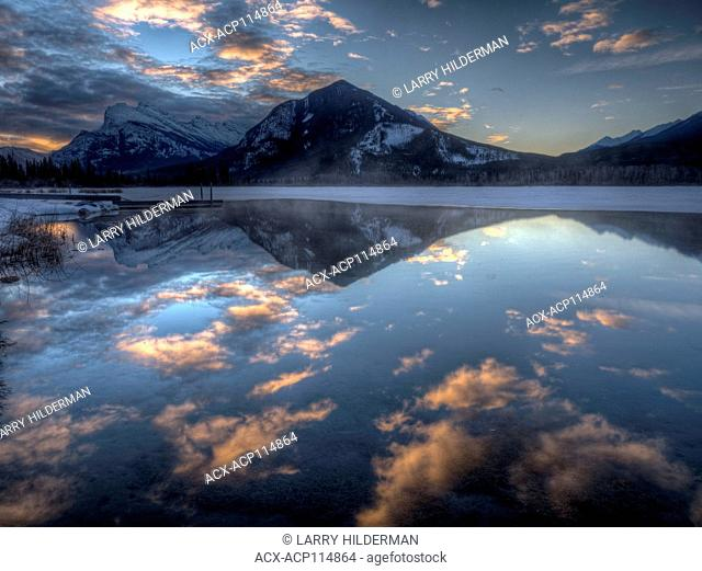 Mt Rundle reflected in Vermillion Lake Banff National Park, Alberta, Canada