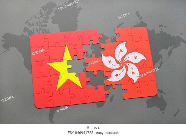 puzzle with the national flag of vietnam and hong kong on a world map background. 3D illustration