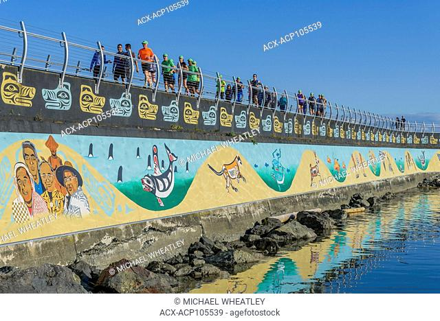 Ogden Point Breakwater featuring one of the world's longest murals, Victoria, British Columbia, Canada