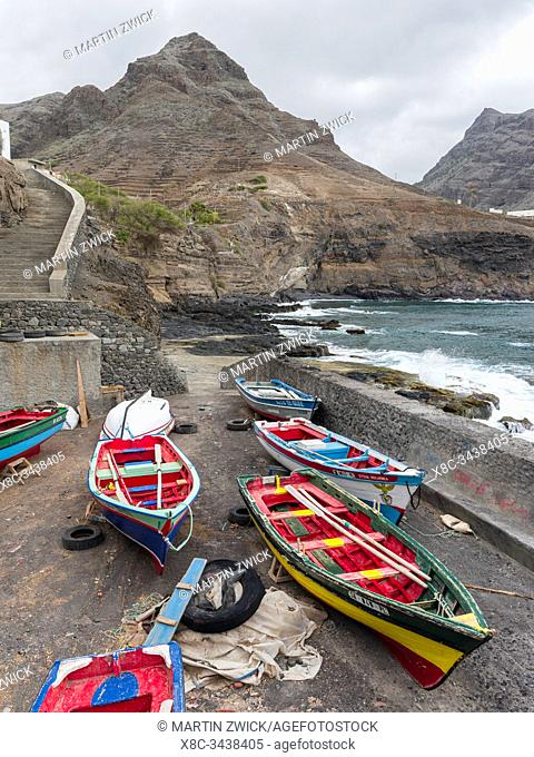 Harbour with traditional fishing boats, Cruzinha da Garca. Valley Ribeira da Garca on the island Santo Antao, Cape Verde in the equatorial atlantic