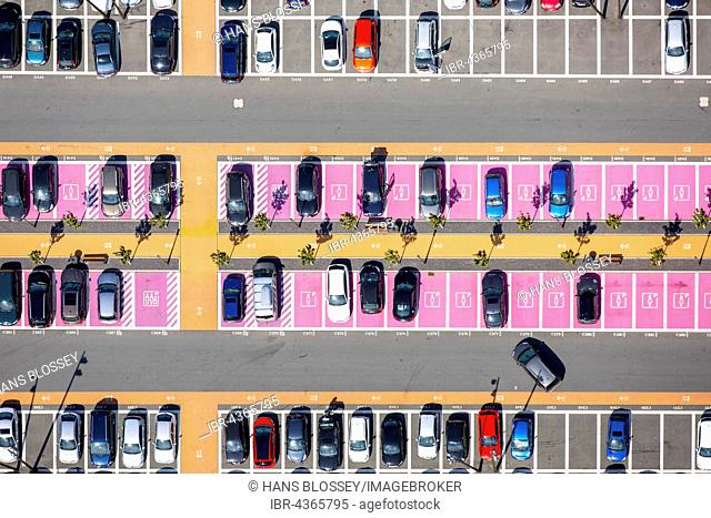Aerial view, parking with parked cars, parking spaces for women, disabled parking, shopping center Ruhr Park Bochum, Bochum, Ruhr district