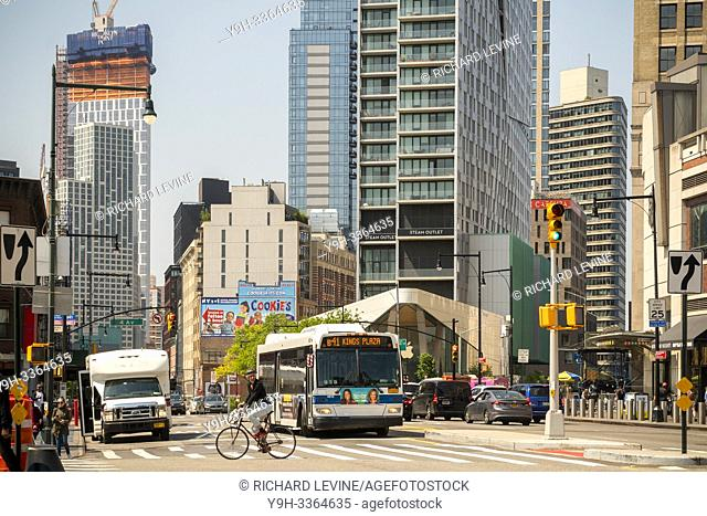 New development in Downtown Brooklyn in New York contrasts with older low rise buildings, seen from Flatbush and Atlantic Avenues on Sunday, May 19, 2019