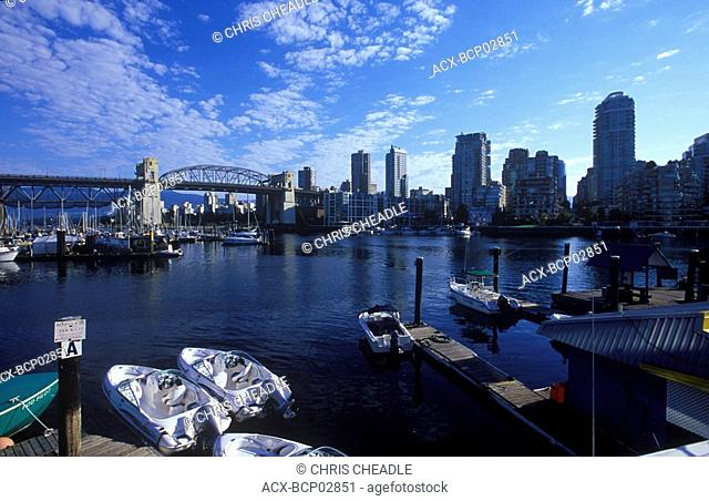 False creek with rental boats, Burrard Bridge in distance, Vancouver, British Columbia, Canada