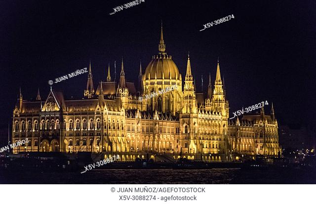 Parliament of Budapest and Danube river. Night vision. Budapest Hungary