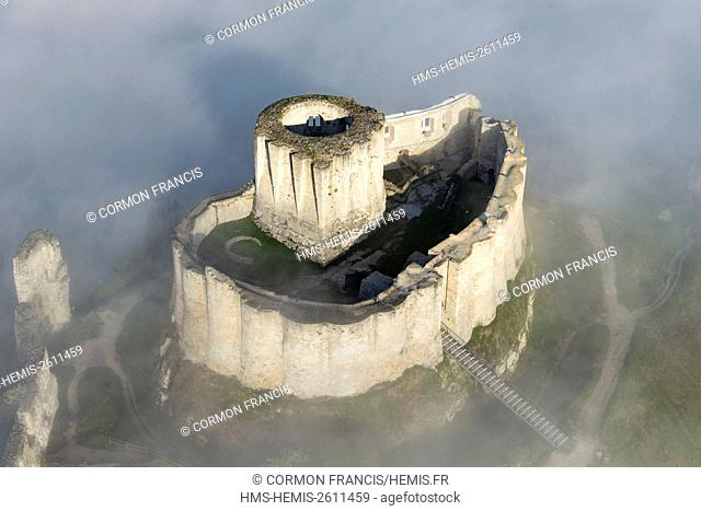 France, Eure, Les Andelys, Chateau Gaillard, 12th century fortress built by Richard Coeur de Lion, Seine valley (aerial view)