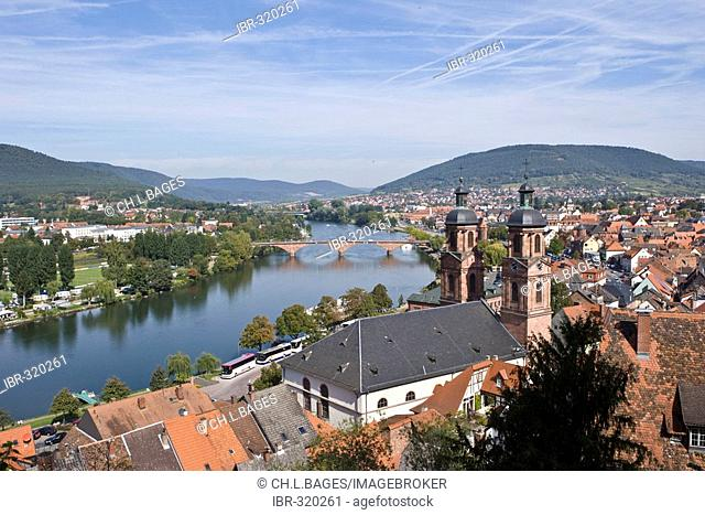 Town church St Jakobus, View onto the river Main, Miltenberg, Bavaria, Germany