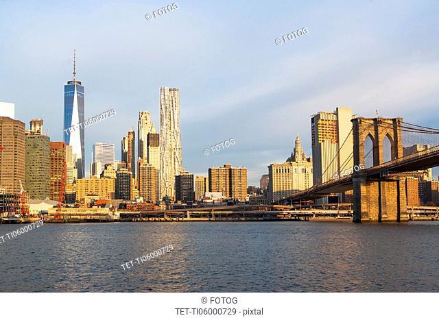 USA, New York State, New York City, Manhattan, Cityscape with Brooklyn Bridge