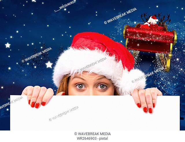 Woman in santa hat peeking from a blank placard 3D