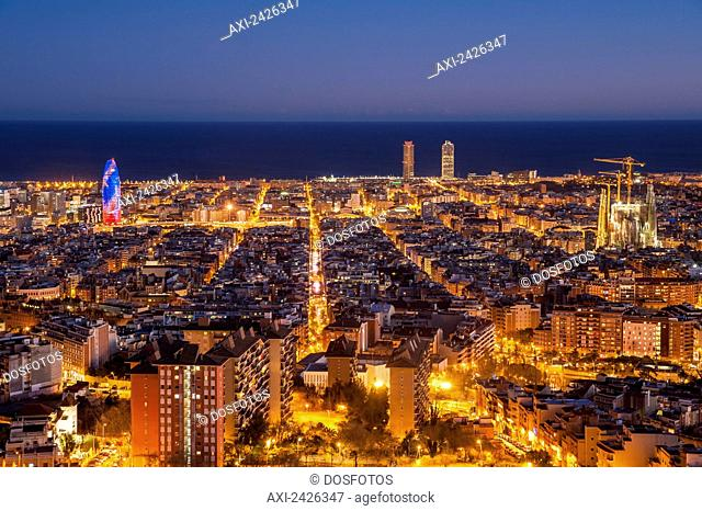 View of the city of Barcelona from Turo de la Rovira; Barcelona, Catalonia, Spain