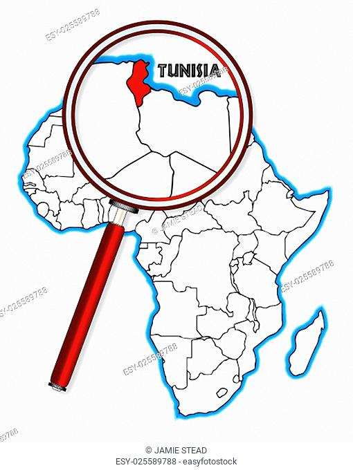 Tunisia outline inset into a map of Africa over a white background