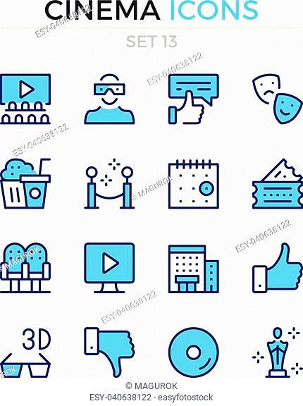 Cinema icons. Vector line icons set. Premium quality. Simple thin line design. Modern outline symbols, pictograms