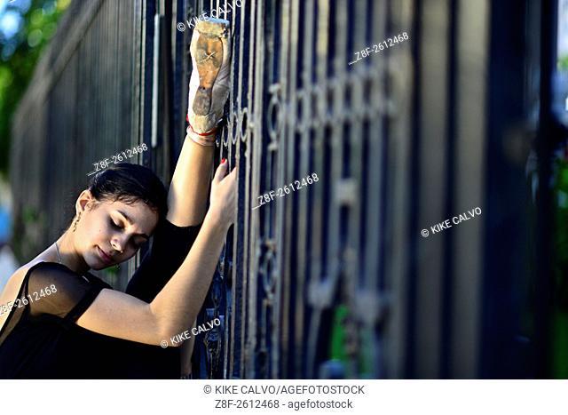 Ballerina from Cuba National Ballet dancing in Vedado neighborhood